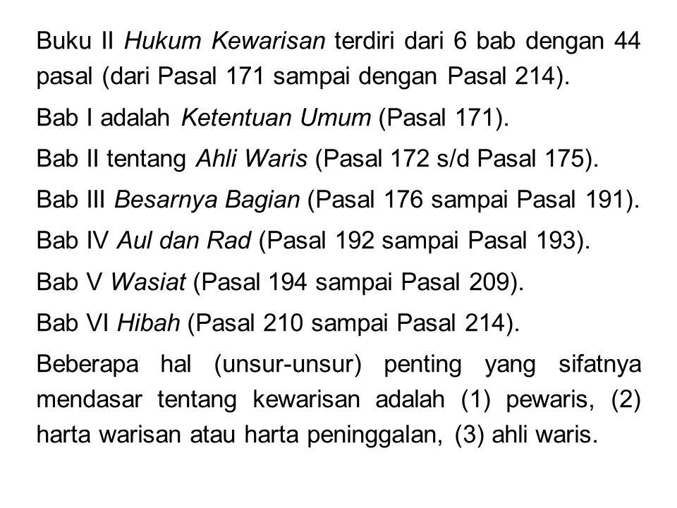 Buku II Hukum Kewarisan terdiri dari 6 bab dengan 44 pasal (dari Pasal 171 sampai dengan Pasal 214).