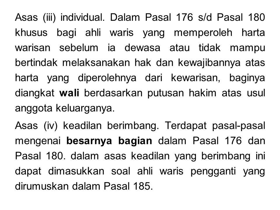 Asas (iii) individual.