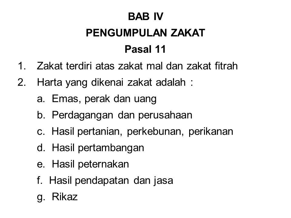 BAB IV PENGUMPULAN ZAKAT Pasal 11 1.Zakat terdiri atas zakat mal dan zakat fitrah 2.Harta yang dikenai zakat adalah : a.