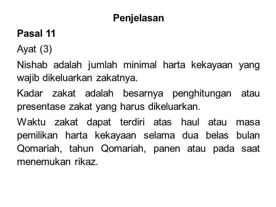 Penjelasan Pasal 11 Ayat (3) Nishab adalah jumlah minimal harta kekayaan yang wajib dikeluarkan zakatnya.