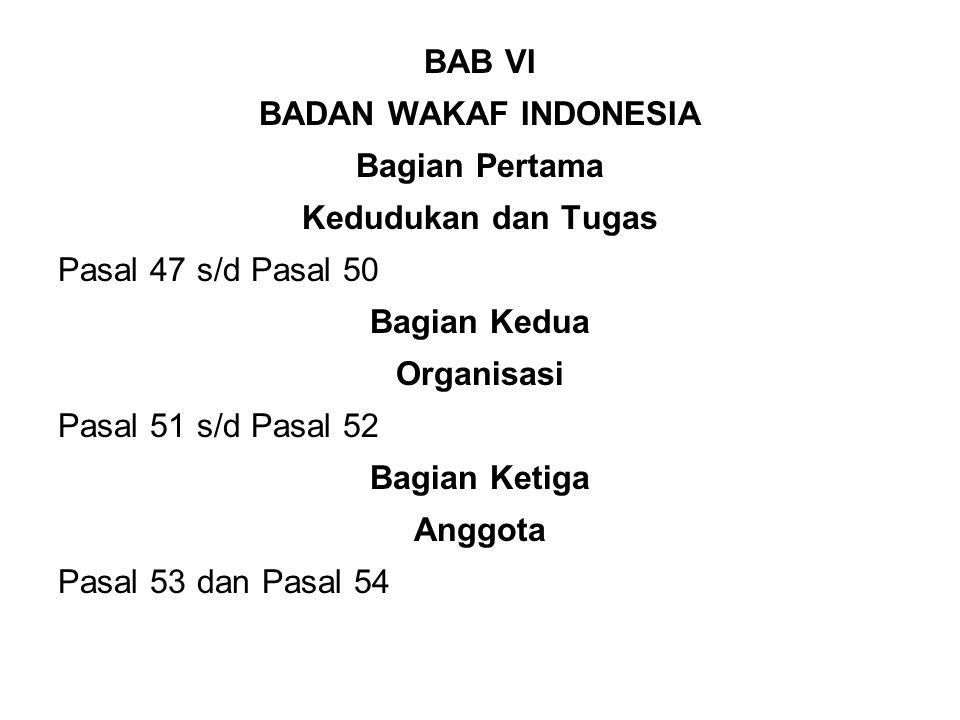 BAB VI BADAN WAKAF INDONESIA Bagian Pertama Kedudukan dan Tugas Pasal 47 s/d Pasal 50 Bagian Kedua Organisasi Pasal 51 s/d Pasal 52 Bagian Ketiga Anggota Pasal 53 dan Pasal 54