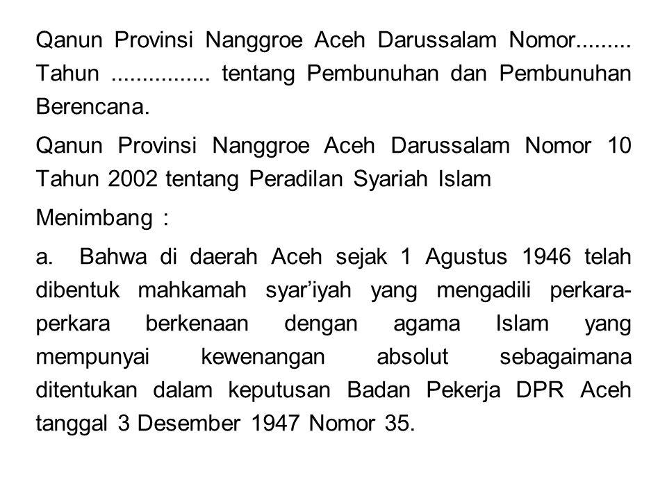 Qanun Provinsi Nanggroe Aceh Darussalam Nomor.........