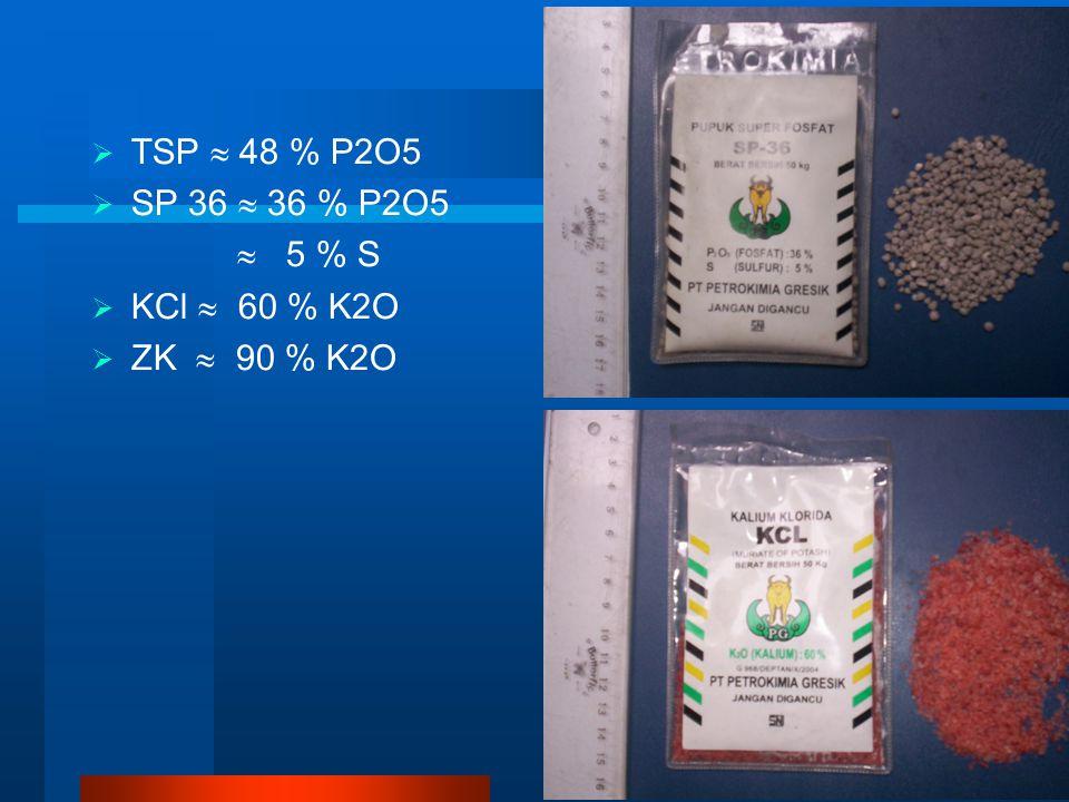  TSP  48 % P2O5  SP 36  36 % P2O5  5 % S  KCl  60 % K2O  ZK  90 % K2O