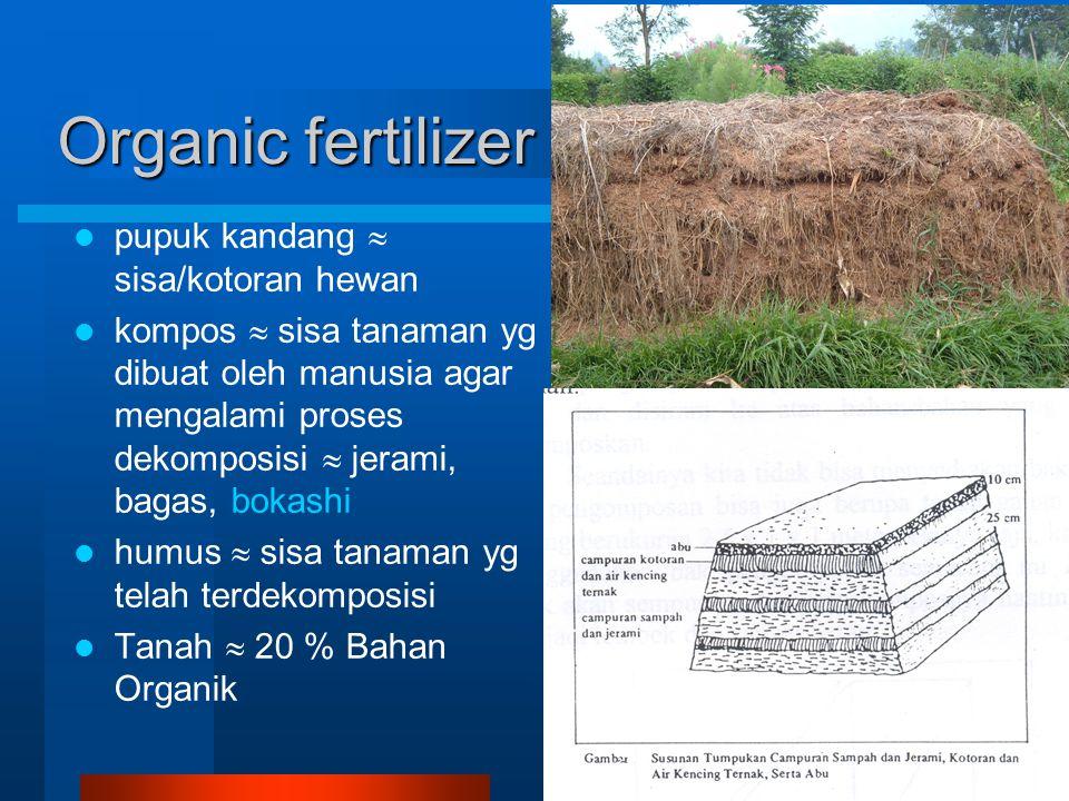 Organic fertilizer pupuk kandang  sisa/kotoran hewan kompos  sisa tanaman yg dibuat oleh manusia agar mengalami proses dekomposisi  jerami, bagas, bokashi humus  sisa tanaman yg telah terdekomposisi Tanah  20 % Bahan Organik