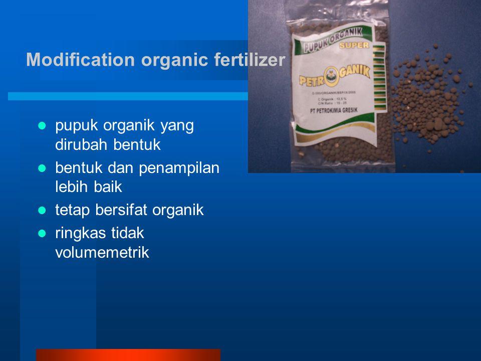 Modification organic fertilizer pupuk organik yang dirubah bentuk bentuk dan penampilan lebih baik tetap bersifat organik ringkas tidak volumemetrik