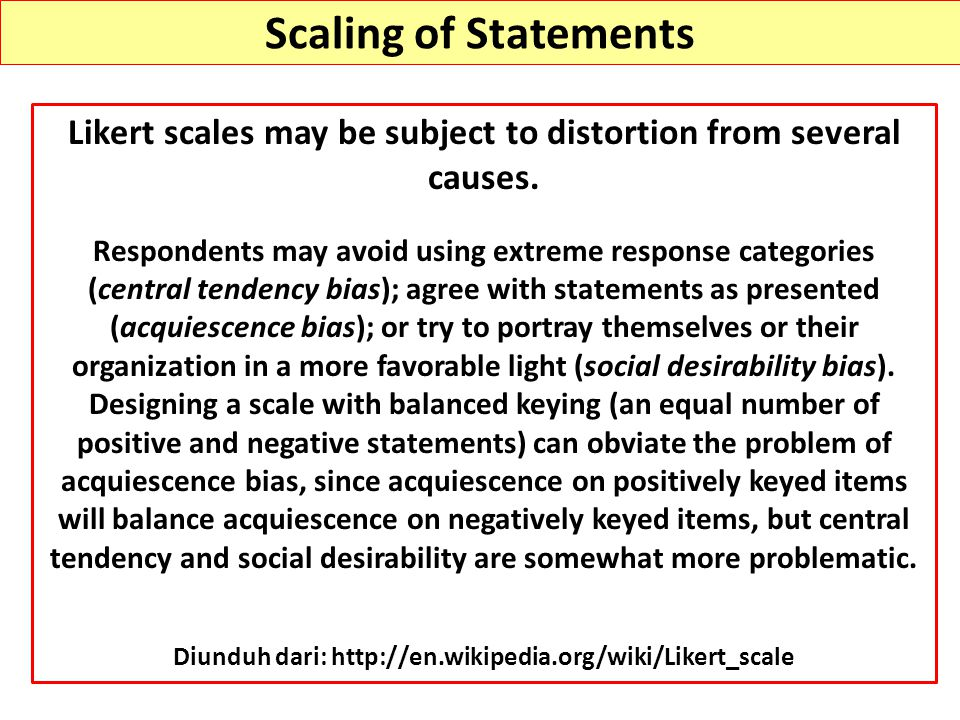 Scaling of Statements Likert scales may be subject to distortion from several causes.