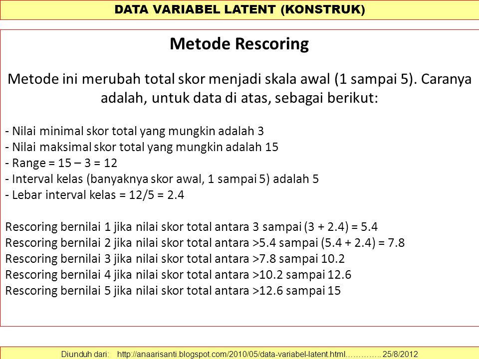 DATA VARIABEL LATENT (KONSTRUK) Metode Rescoring Metode ini merubah total skor menjadi skala awal (1 sampai 5). Caranya adalah, untuk data di atas, se