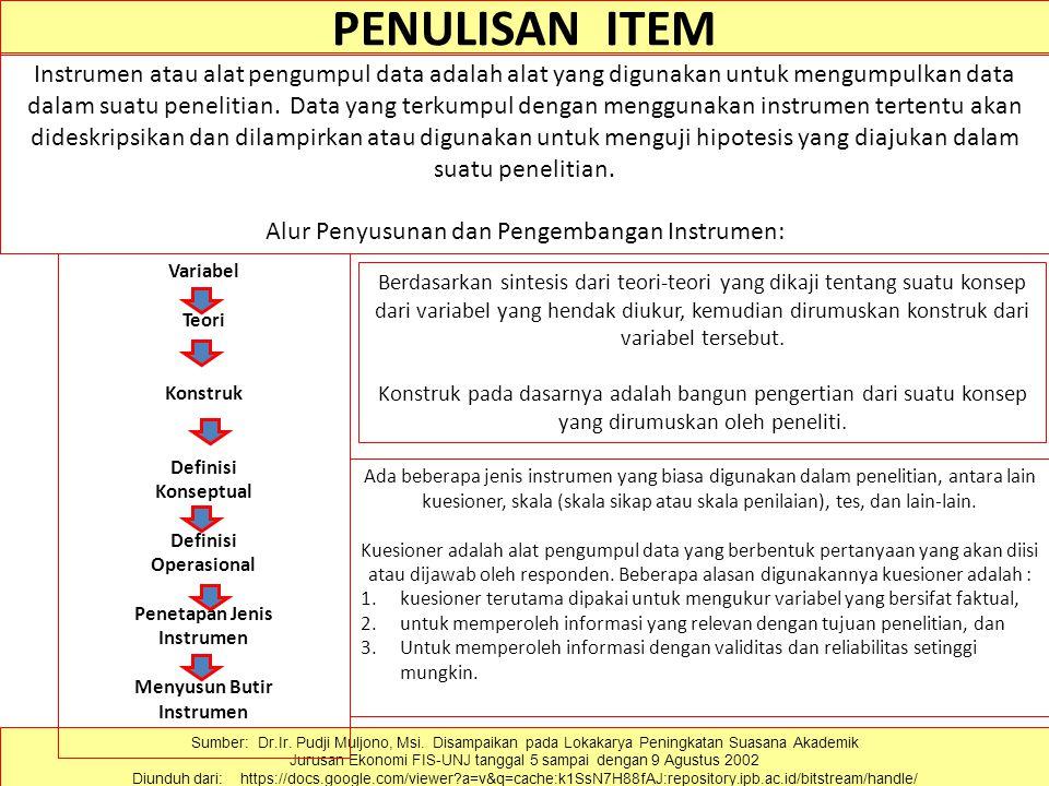 PENULISAN ITEM Sumber: Dr.Ir. Pudji Muljono, Msi. Disampaikan pada Lokakarya Peningkatan Suasana Akademik Jurusan Ekonomi FIS-UNJ tanggal 5 sampai den