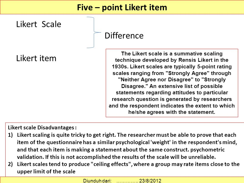 Five – point Likert item Likert Scale Difference Likert item Likert scale Disadvantages : 1)Likert scaling is quite tricky to get right.