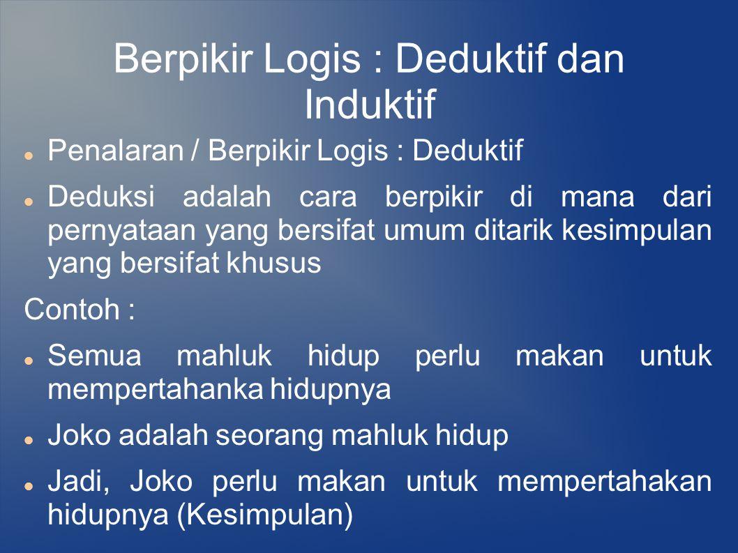 Berpikir Logis : Deduktif dan Induktif Penalaran / Berpikir Logis : Deduktif Deduksi adalah cara berpikir di mana dari pernyataan yang bersifat umum d