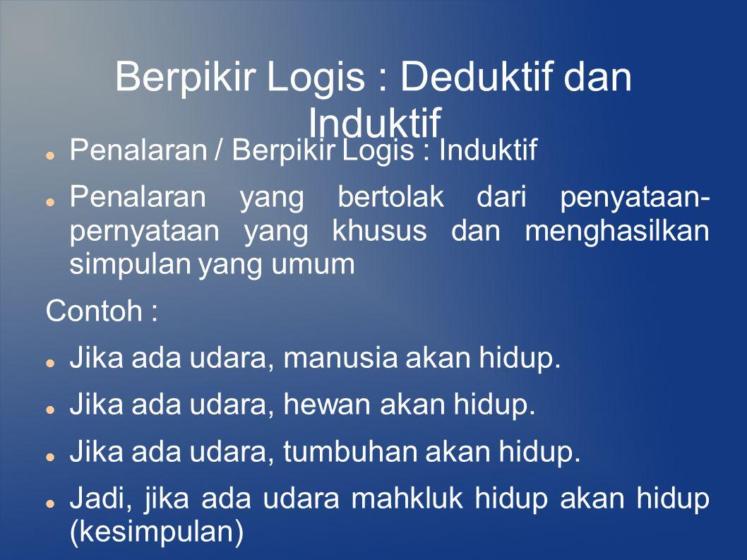Berpikir Logis : Deduktif dan Induktif Penalaran / Berpikir Logis : Induktif Penalaran yang bertolak dari penyataan- pernyataan yang khusus dan mengha