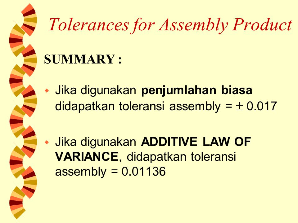 Tolerances for Assembly Product SUMMARY : w Jika digunakan penjumlahan biasa didapatkan toleransi assembly =  0.017 w Jika digunakan ADDITIVE LAW OF