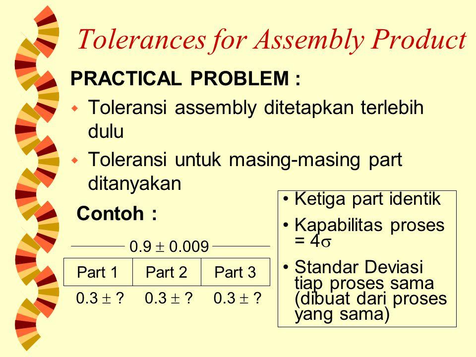 Tolerances for Assembly Product w Jika digunakan cara penjumlahan biasa : Tlrs ass = tlrs part1 + tlrs part 2 + tlrs part 3 0.009 = (  0.003) + (  0.003) + (  0.003) w Tetapi sudah kita pahami sebelumnya bahwa cara ini kurang tepat.