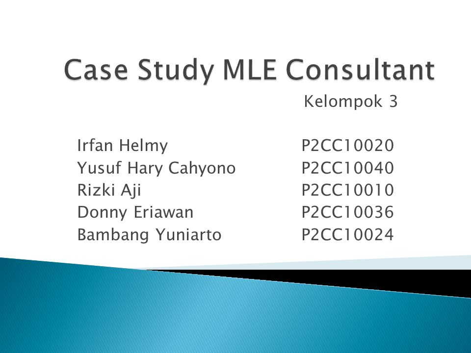 Kelompok 3 Irfan Helmy P2CC10020 Yusuf Hary Cahyono P2CC10040 Rizki Aji P2CC10010 Donny Eriawan P2CC10036 Bambang Yuniarto P2CC10024