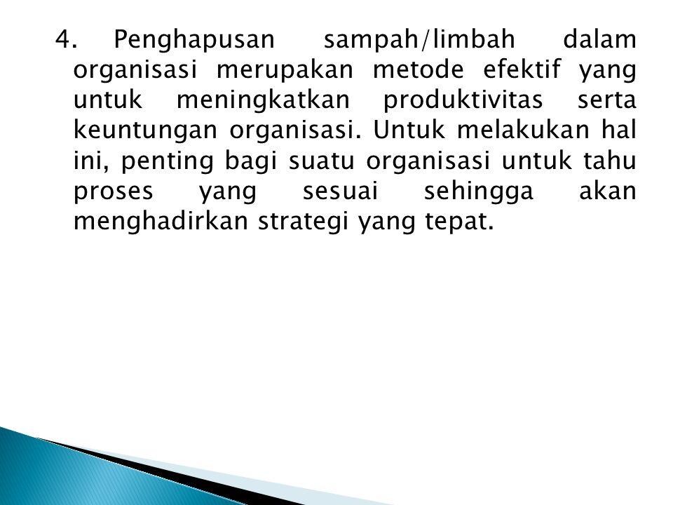 4.Penghapusan sampah/limbah dalam organisasi merupakan metode efektif yang untuk meningkatkan produktivitas serta keuntungan organisasi.