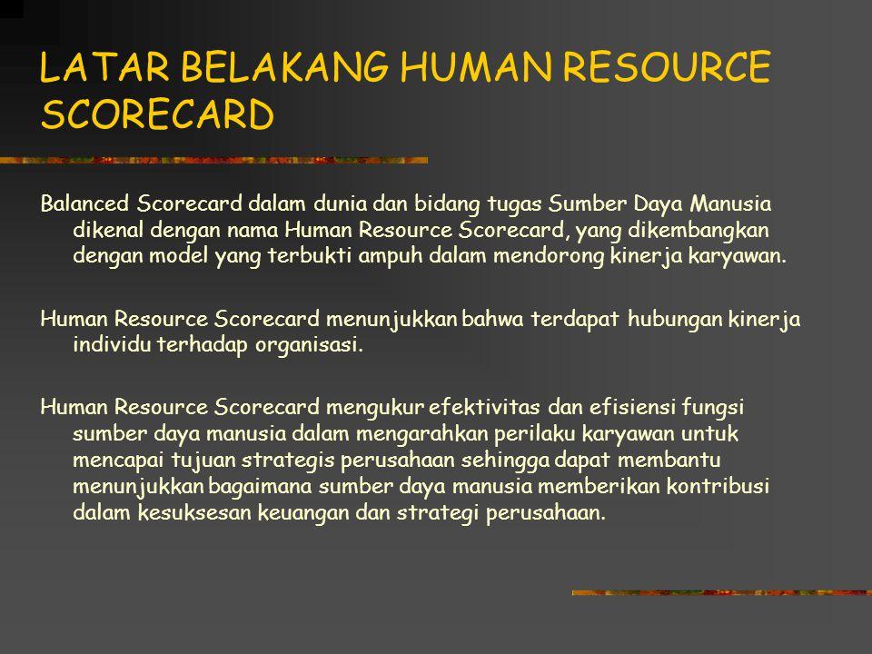 LATAR BELAKANG HUMAN RESOURCE SCORECARD Balanced Scorecard dalam dunia dan bidang tugas Sumber Daya Manusia dikenal dengan nama Human Resource Scorecard, yang dikembangkan dengan model yang terbukti ampuh dalam mendorong kinerja karyawan.