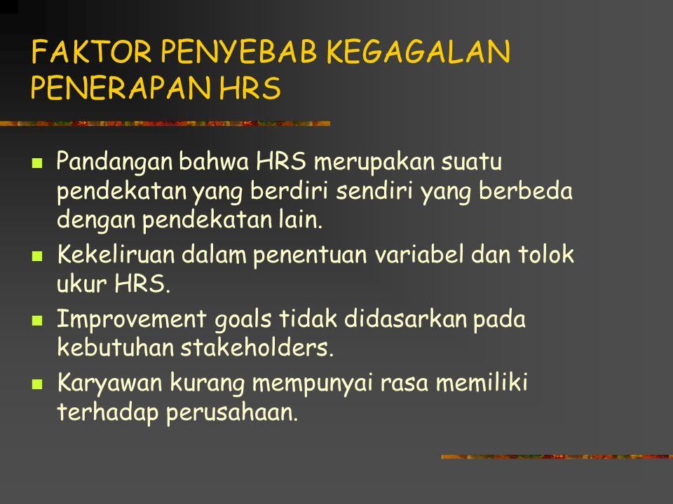 FAKTOR PENYEBAB KEGAGALAN PENERAPAN HRS Pandangan bahwa HRS merupakan suatu pendekatan yang berdiri sendiri yang berbeda dengan pendekatan lain.