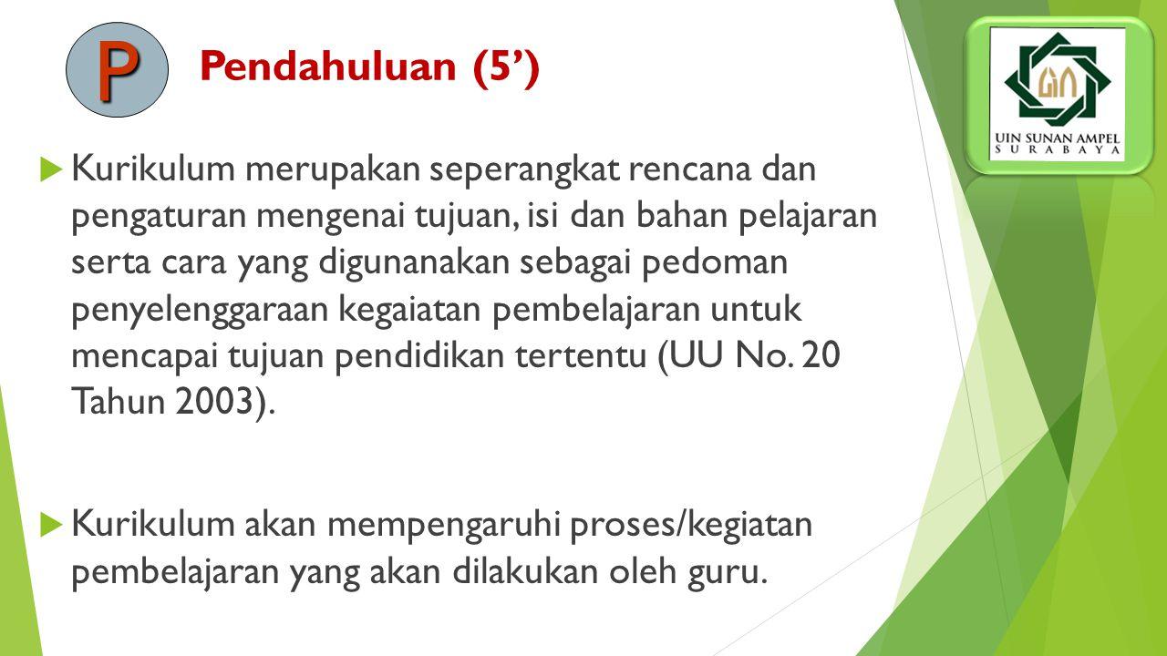 Pendahuluan (5')  Kurikulum merupakan seperangkat rencana dan pengaturan mengenai tujuan, isi dan bahan pelajaran serta cara yang digunanakan sebagai pedoman penyelenggaraan kegaiatan pembelajaran untuk mencapai tujuan pendidikan tertentu (UU No.
