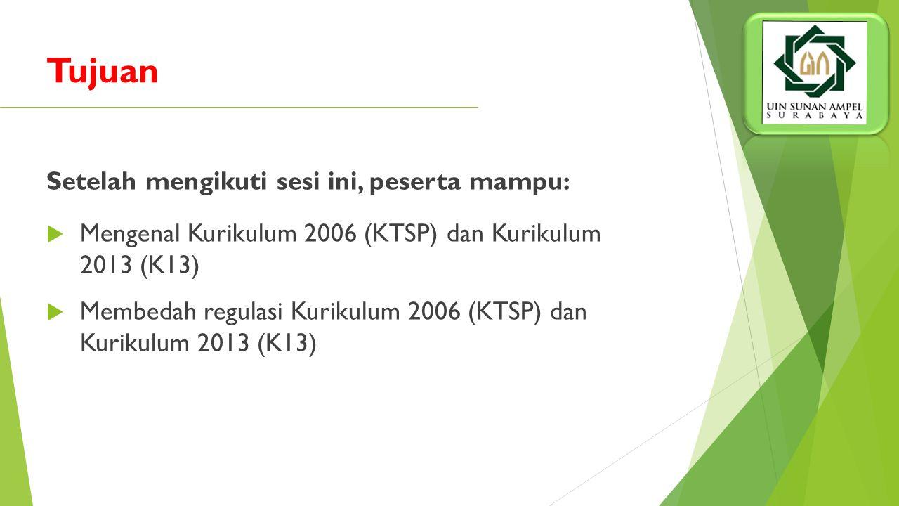 Setelah mengikuti sesi ini, peserta mampu:  Mengenal Kurikulum 2006 (KTSP) dan Kurikulum 2013 (K13)  Membedah regulasi Kurikulum 2006 (KTSP) dan Kurikulum 2013 (K13) Tujuan