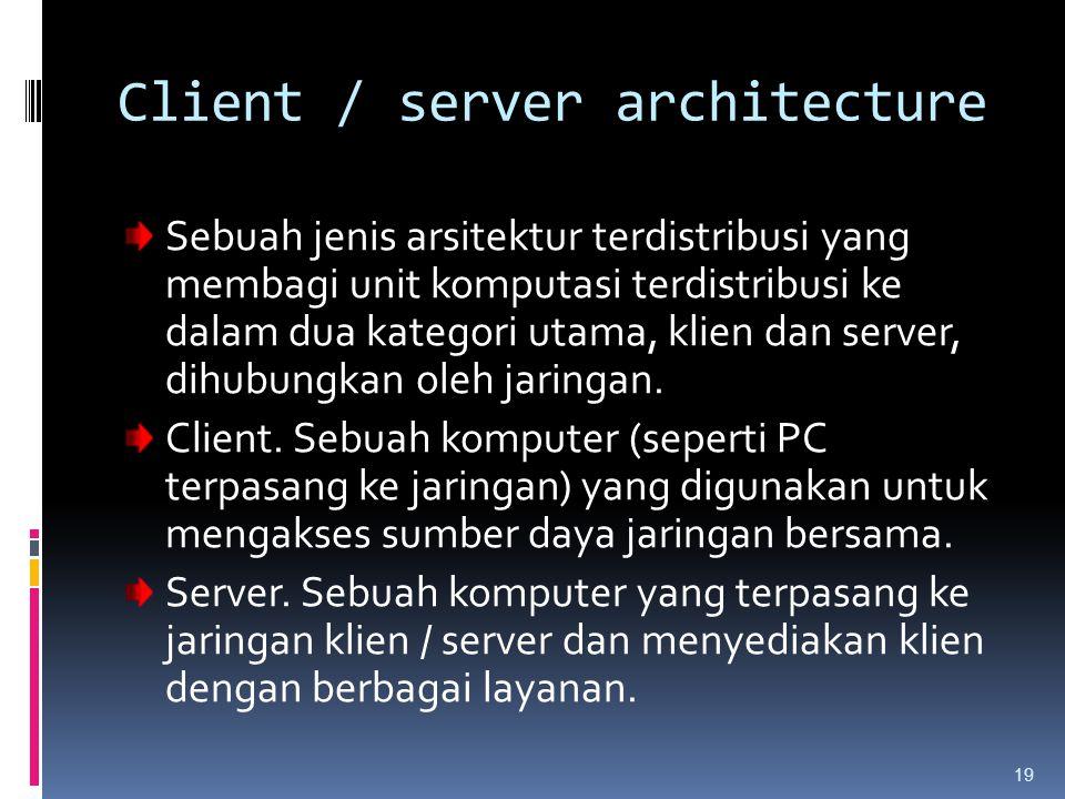19 Sebuah jenis arsitektur terdistribusi yang membagi unit komputasi terdistribusi ke dalam dua kategori utama, klien dan server, dihubungkan oleh jar