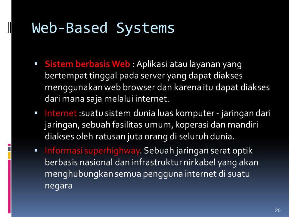20 Web-Based Systems  Sistem berbasis Web : Aplikasi atau layanan yang bertempat tinggal pada server yang dapat diakses menggunakan web browser dan k