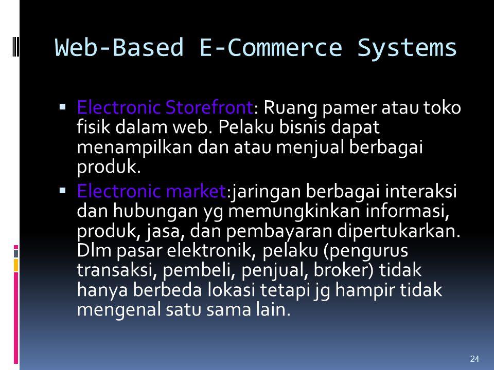 24  Electronic Storefront: Ruang pamer atau toko fisik dalam web. Pelaku bisnis dapat menampilkan dan atau menjual berbagai produk.  Electronic mark