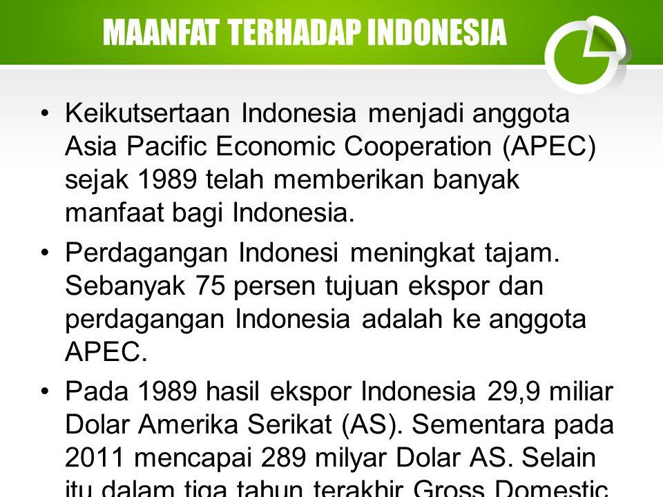 Keikutsertaan Indonesia menjadi anggota Asia Pacific Economic Cooperation (APEC) sejak 1989 telah memberikan banyak manfaat bagi Indonesia.