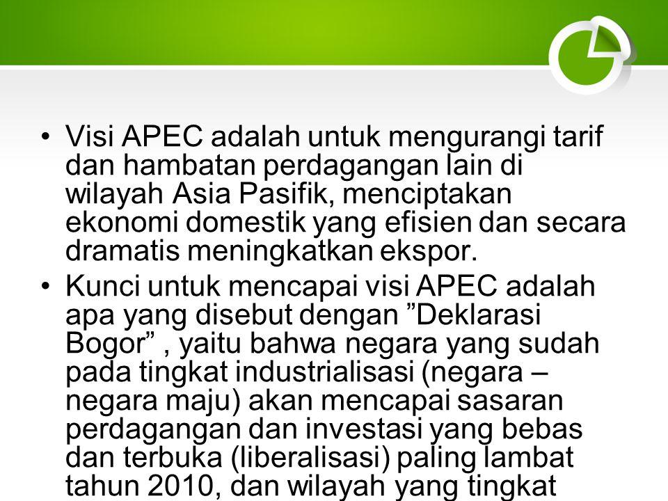 Visi APEC adalah untuk mengurangi tarif dan hambatan perdagangan lain di wilayah Asia Pasifik, menciptakan ekonomi domestik yang efisien dan secara dramatis meningkatkan ekspor.