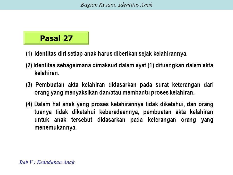 Pasal 27 (1)Identitas diri setiap anak harus diberikan sejak kelahirannya.