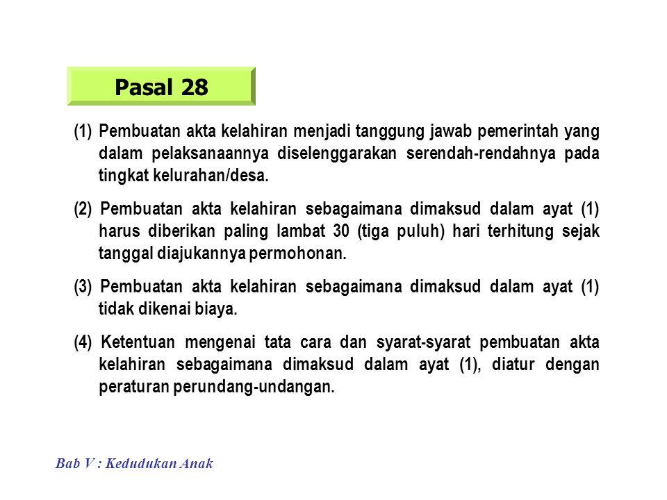 Pasal 28 (1)Pembuatan akta kelahiran menjadi tanggung jawab pemerintah yang dalam pelaksanaannya diselenggarakan serendah-rendahnya pada tingkat kelurahan/desa.
