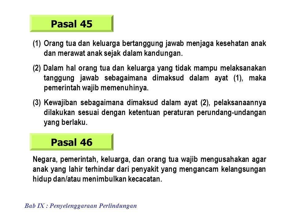 Pasal 45 (1)Orang tua dan keluarga bertanggung jawab menjaga kesehatan anak dan merawat anak sejak dalam kandungan.
