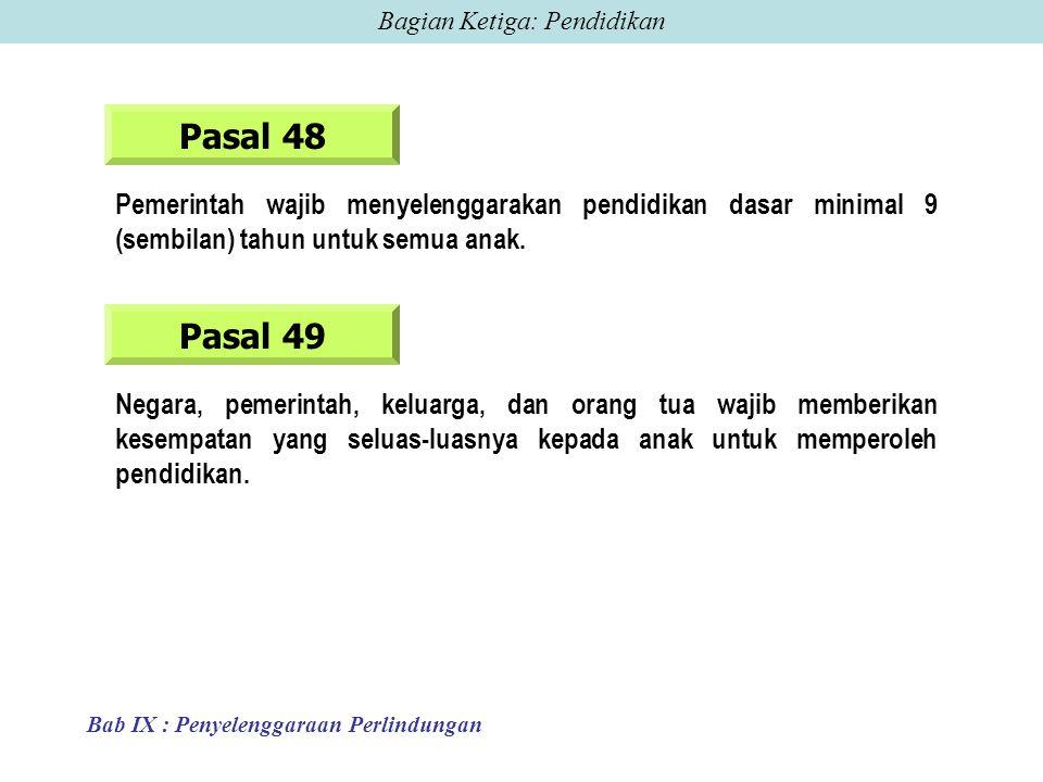 Pasal 48 Pemerintah wajib menyelenggarakan pendidikan dasar minimal 9 (sembilan) tahun untuk semua anak.