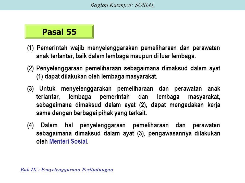 Pasal 55 (1) Pemerintah wajib menyelenggarakan pemeliharaan dan perawatan anak terlantar, baik dalam lembaga maupun di luar lembaga.