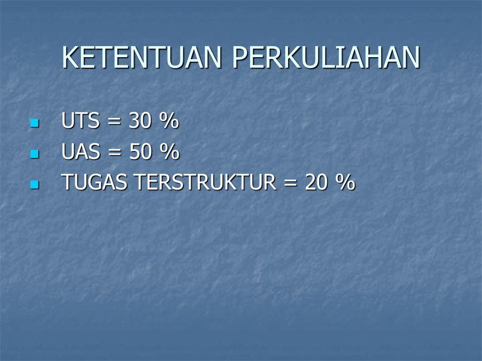 KETENTUAN PERKULIAHAN UTS = 30 % UTS = 30 % UAS = 50 % UAS = 50 % TUGAS TERSTRUKTUR = 20 % TUGAS TERSTRUKTUR = 20 %