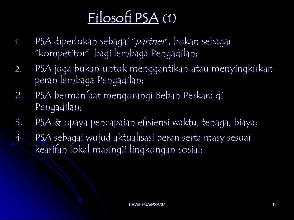 """BRW/FHUA/PSA/0718 Filosofi PSA (1) 1. PSA diperlukan sebagai """"partner"""", bukan sebagai """"kompetitor"""" bagi lembaga Pengadilan; 2. PSA juga bukan untuk me"""