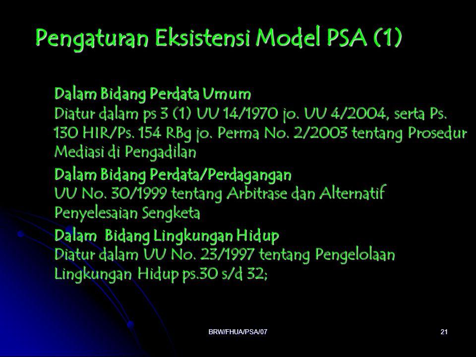 BRW/FHUA/PSA/0721 Pengaturan Eksistensi Model PSA (1) Dalam Bidang Perdata Umum Diatur dalam ps 3 (1) UU 14/1970 jo. UU 4/2004, serta Ps. 130 HIR/Ps.