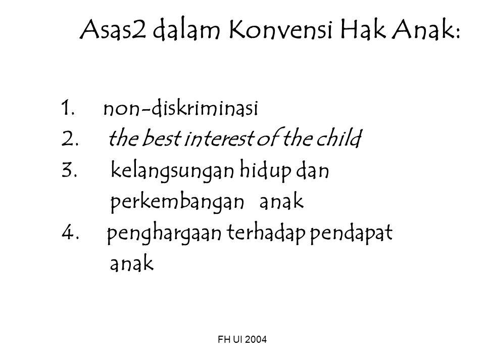 FH UI 2004 Asas2 dalam Konvensi Hak Anak: 1. non-diskriminasi 2. the best interest of the child 3. kelangsungan hidup dan perkembangan anak 4. penghar