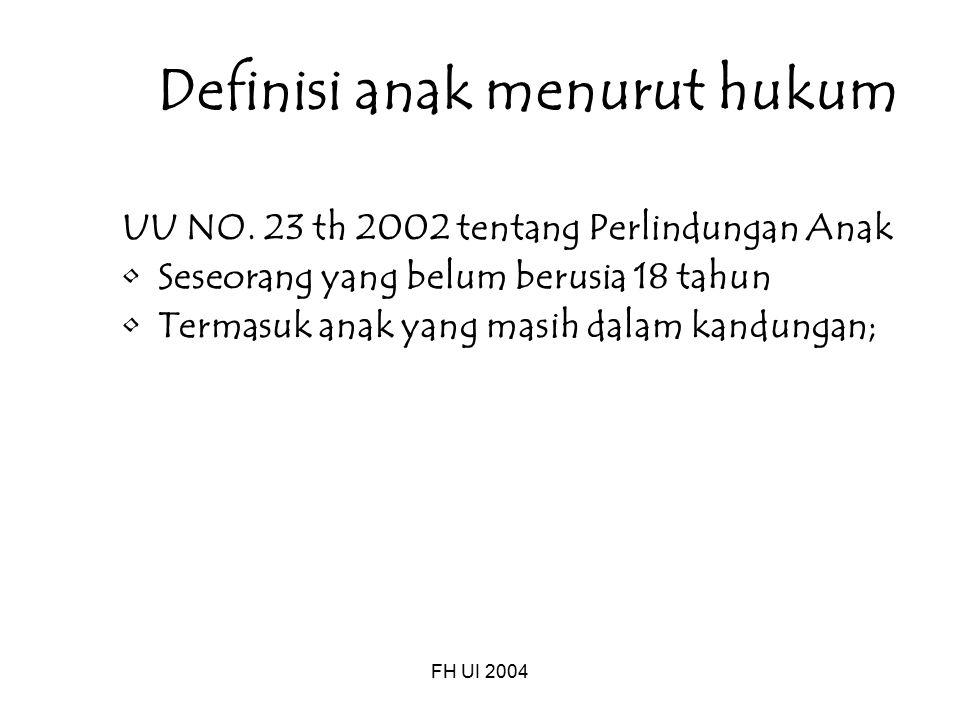 FH UI 2004 Definisi anak menurut hukum UU NO. 23 th 2002 tentang Perlindungan Anak Seseorang yang belum berusia 18 tahun Termasuk anak yang masih dala