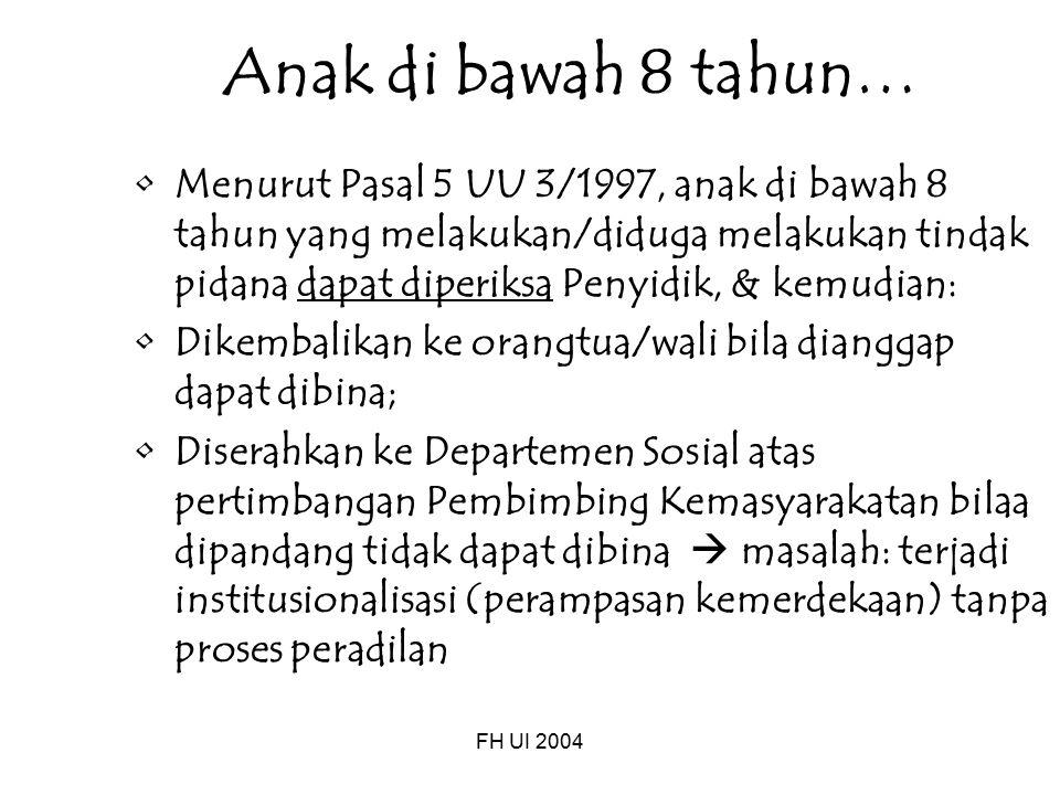 FH UI 2004 Anak di bawah 8 tahun… Menurut Pasal 5 UU 3/1997, anak di bawah 8 tahun yang melakukan/diduga melakukan tindak pidana dapat diperiksa Penyi