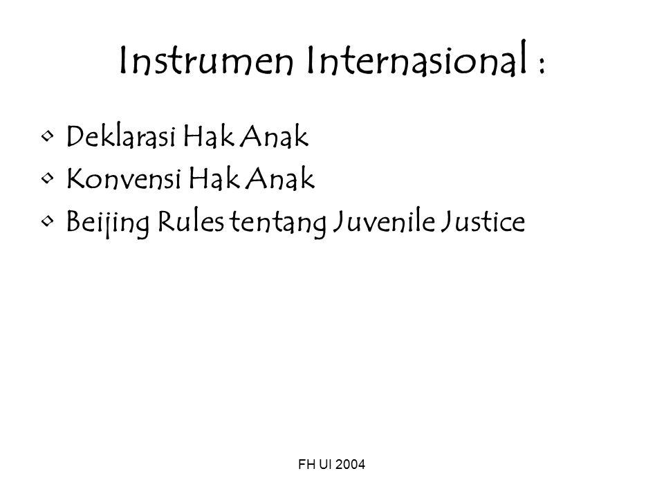 FH UI 2004 Instrumen Internasional : Deklarasi Hak Anak Konvensi Hak Anak Beijing Rules tentang Juvenile Justice