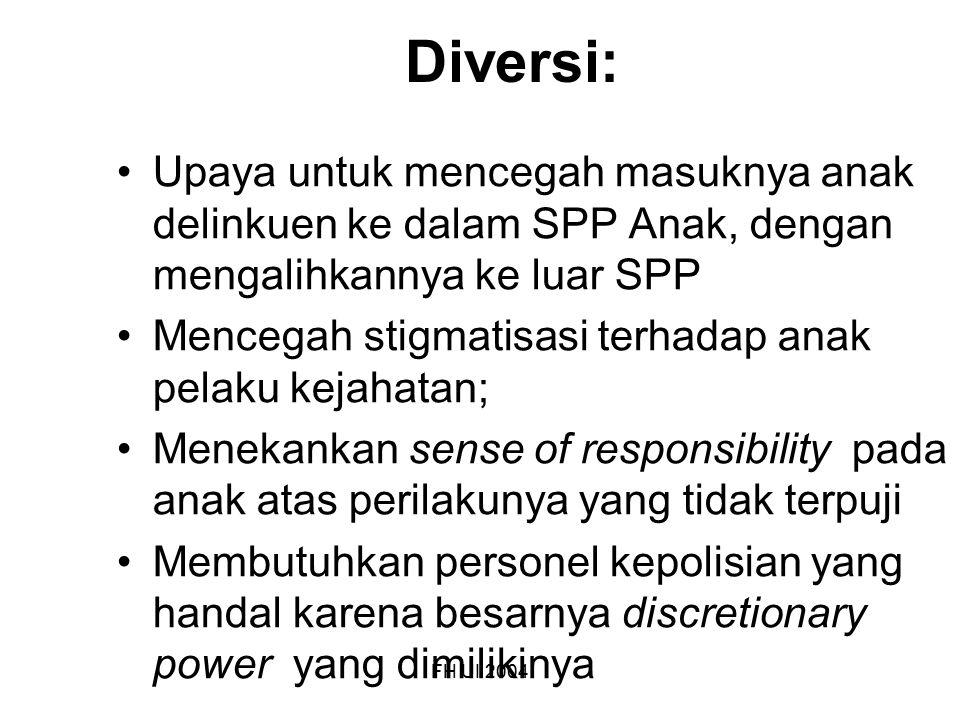 FH UI 2004 Diversi: Upaya untuk mencegah masuknya anak delinkuen ke dalam SPP Anak, dengan mengalihkannya ke luar SPP Mencegah stigmatisasi terhadap a