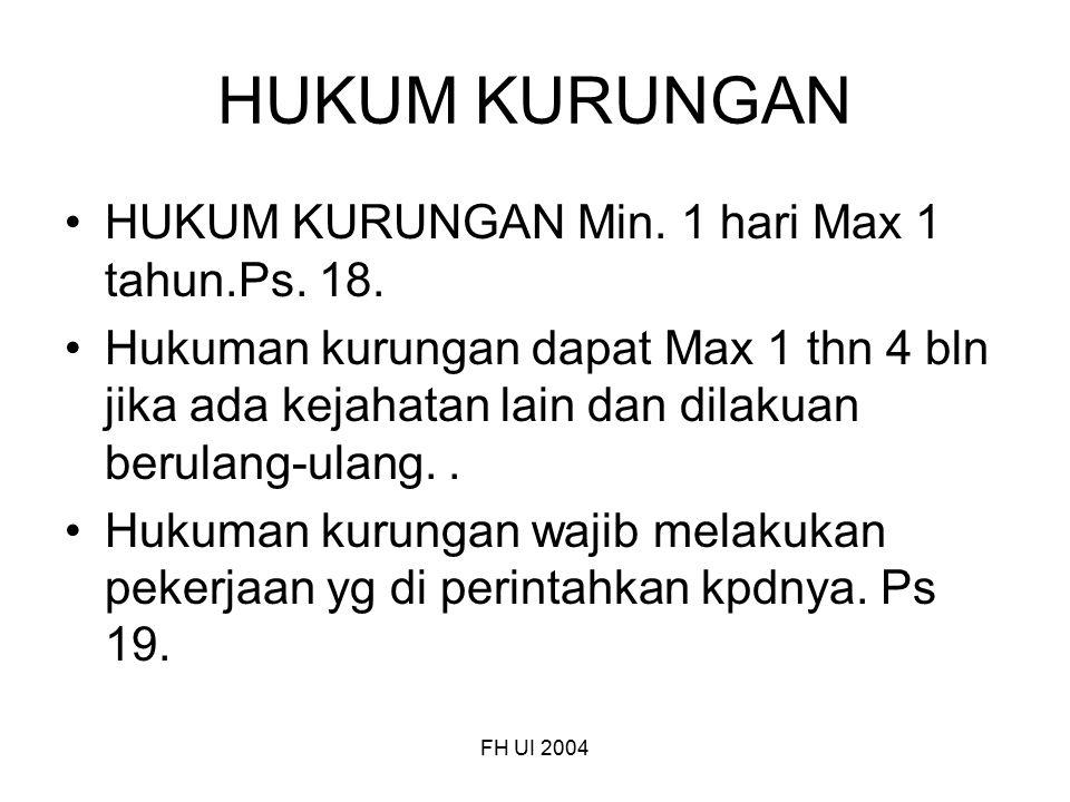 FH UI 2004 HUKUM KURUNGAN HUKUM KURUNGAN Min. 1 hari Max 1 tahun.Ps. 18. Hukuman kurungan dapat Max 1 thn 4 bln jika ada kejahatan lain dan dilakuan b
