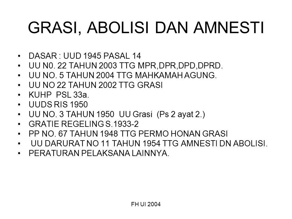 FH UI 2004 GRASI, ABOLISI DAN AMNESTI DASAR : UUD 1945 PASAL 14 UU N0. 22 TAHUN 2003 TTG MPR,DPR,DPD,DPRD. UU NO. 5 TAHUN 2004 TTG MAHKAMAH AGUNG. UU