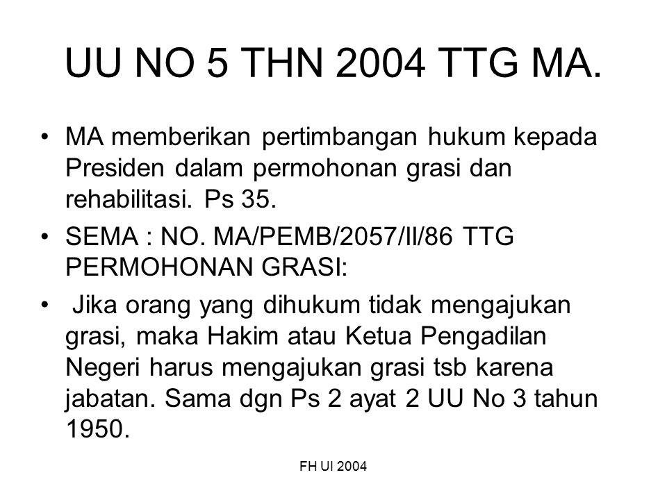 FH UI 2004 UU NO 5 THN 2004 TTG MA. MA memberikan pertimbangan hukum kepada Presiden dalam permohonan grasi dan rehabilitasi. Ps 35. SEMA : NO. MA/PEM