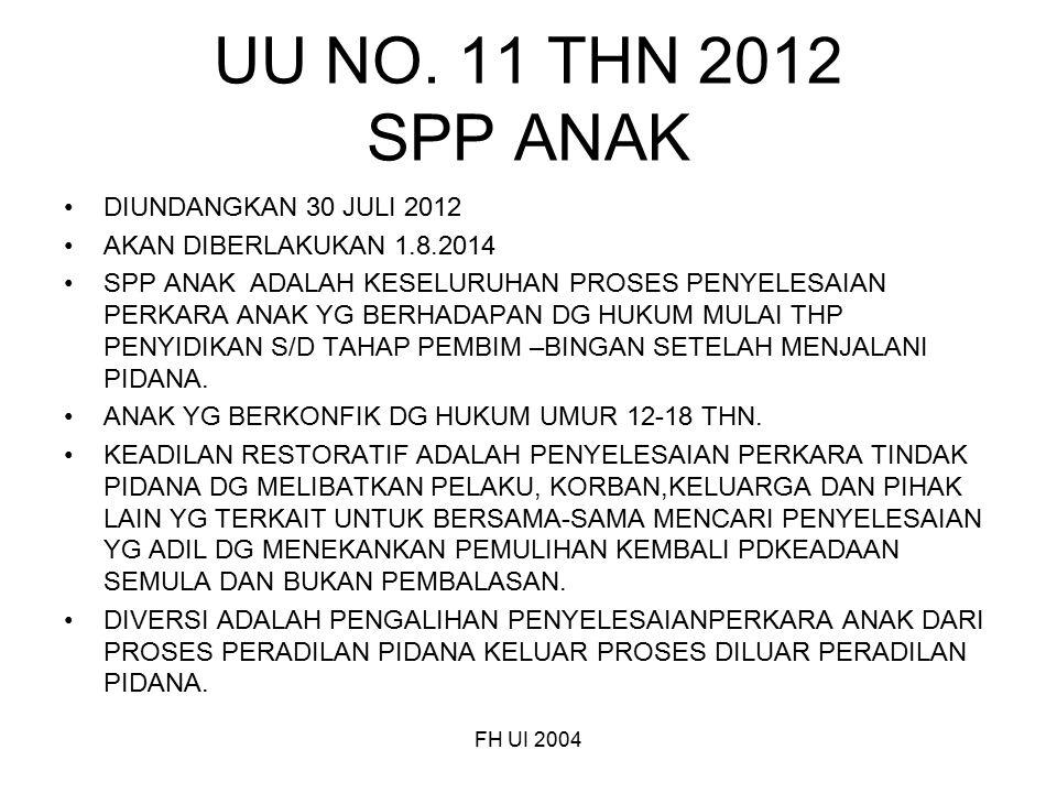 UU NO. 11 THN 2012 SPP ANAK DIUNDANGKAN 30 JULI 2012 AKAN DIBERLAKUKAN 1.8.2014 SPP ANAK ADALAH KESELURUHAN PROSES PENYELESAIAN PERKARA ANAK YG BERHAD