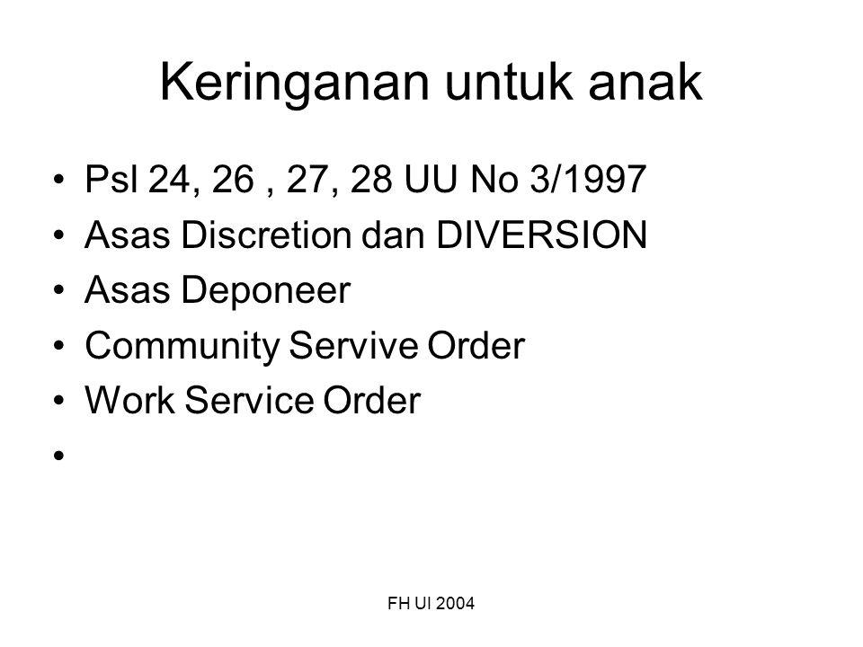 FH UI 2004 Keringanan untuk anak Psl 24, 26, 27, 28 UU No 3/1997 Asas Discretion dan DIVERSION Asas Deponeer Community Servive Order Work Service Orde