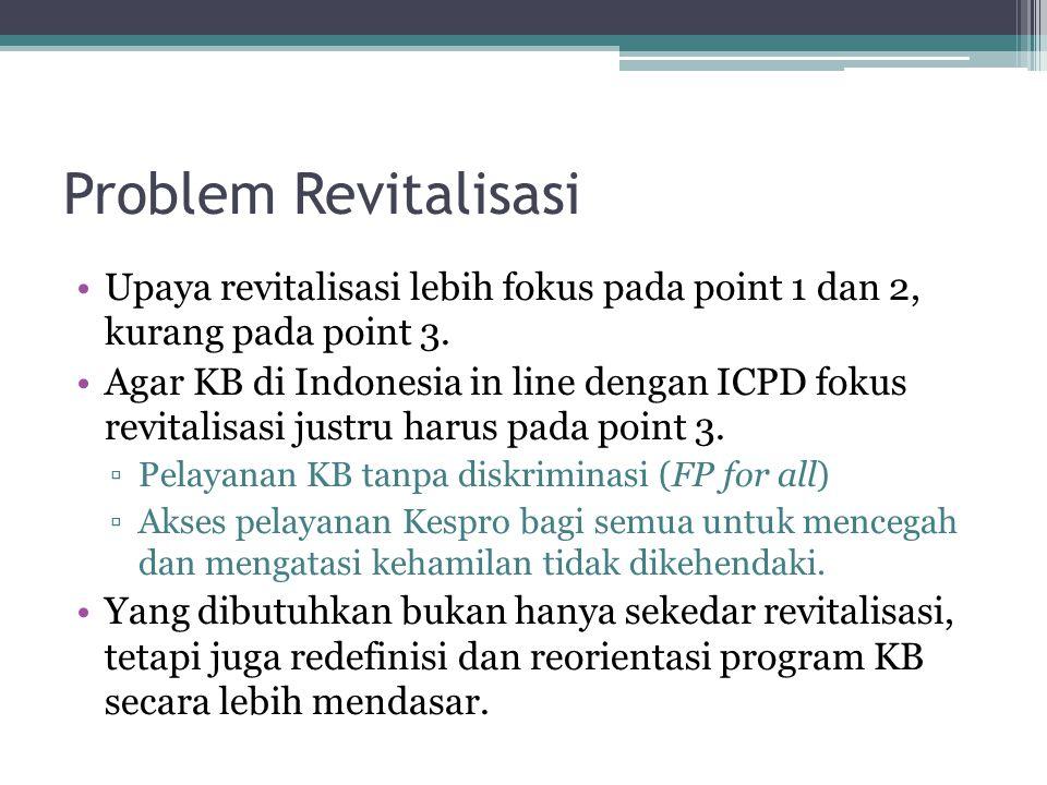 Problem Revitalisasi Upaya revitalisasi lebih fokus pada point 1 dan 2, kurang pada point 3. Agar KB di Indonesia in line dengan ICPD fokus revitalisa
