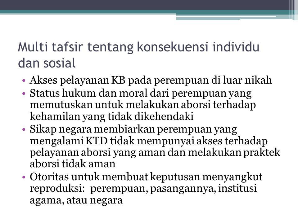 Multi tafsir tentang konsekuensi individu dan sosial Akses pelayanan KB pada perempuan di luar nikah Status hukum dan moral dari perempuan yang memutu