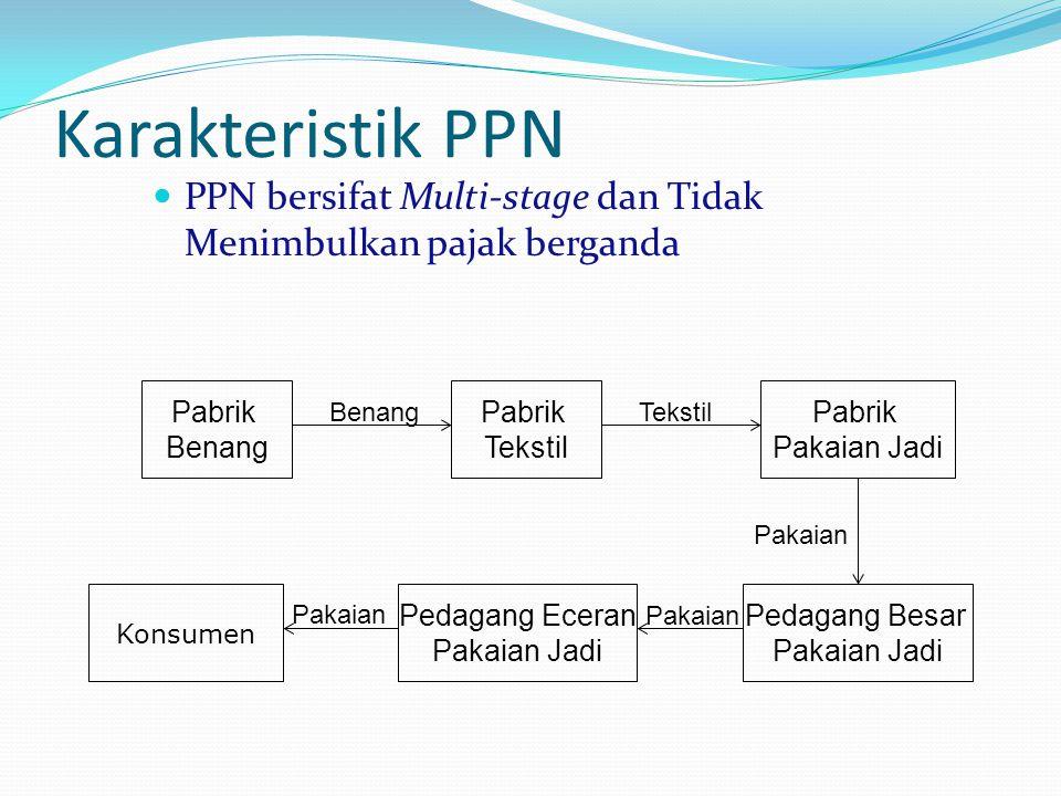 Karakteristik PPN PPN bersifat Multi-stage dan Tidak Menimbulkan pajak berganda Pabrik Benang Pabrik Tekstil Pabrik Pakaian Jadi Tekstil Pedagang Besa