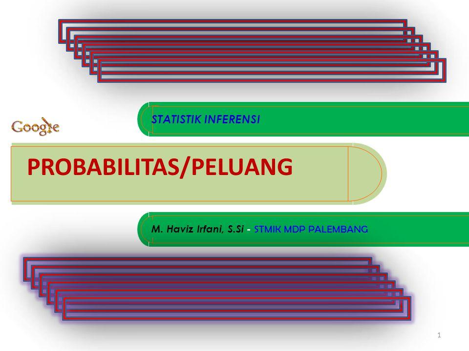 Jika A dibagi dua bagian, misalnya ada kejadian B dan B' BAYES PROBABILITAS B A B' B1B1 B2B2 B3B3 B4B4 B5B5 B6B6 B7B7 B8B8 Jika A dibagi delapan bagian